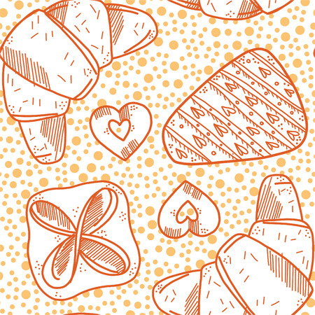 Seamless pattern with bakery products. croissant, cookies, a piece of cake and puff. Yellow and orange colors. Dots background Illustration