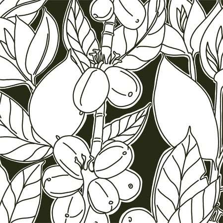 Background with floral design. Coffee beans and leaves. Black and white colors. Dark background