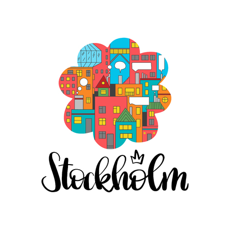 Stockholm text in hand drawn lettering with vivid city in the flower form. For cards, postcards, pages, business materials