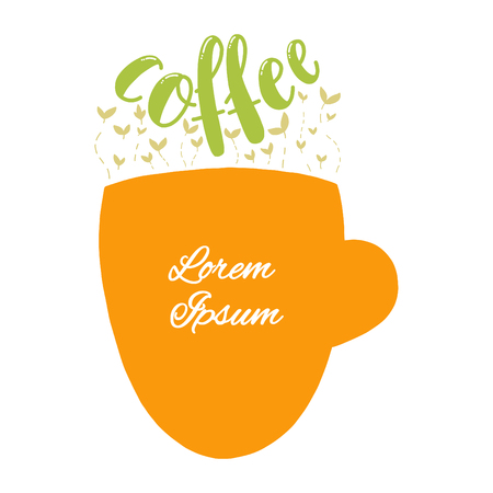 Cup form with Coffee text and coffee sprouts above. Green colors. Isolated icon. Easy to change color.