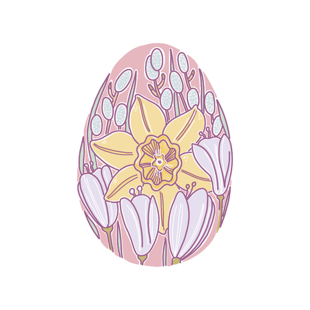 Spring flowers in egg-form for Happy Easter.  For cards, postcards, pages, business materials.  Isolated element.
