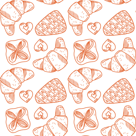 Seamless pattern with bakery products.  croissant, cookies, a piece of cake and puff. Yellow colors. White background