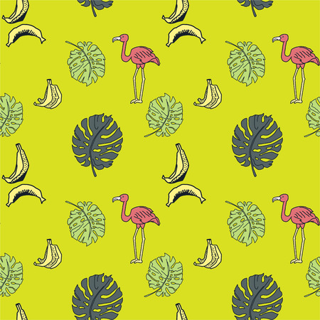 Seamless pattern with tropics elements. Palm leaves, bananas and pink flamingos. Green background. Hand drawn elements. Foto de archivo - 98314186