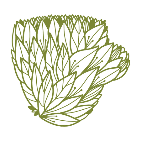 Cup form with floral design. Leaves with doodle elements. Light grey drawing. White background. Isolated element