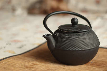 chinese tea ceremony: Teapot on the bamboo
