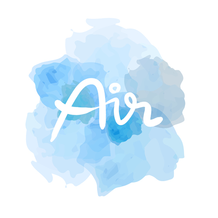 Air Hand drawn calligraphy on a blue watercolor sky background isolated on white
