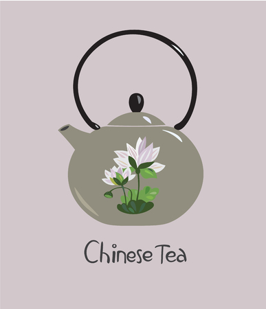 Vector illustration of chinese ceramic teapot with lotus flower Illustration