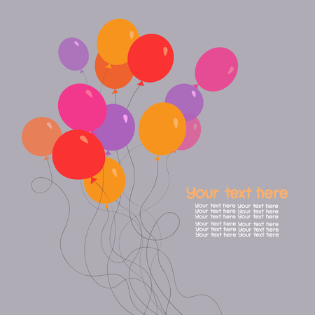 Colorful bunch of birthday balloons. Template for greeting card