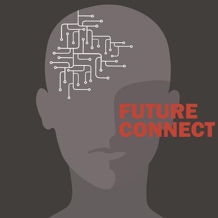 Artificial intelligence connection. Human brain circuit. Future concept design vector illustration