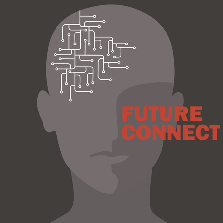 Conexión de inteligencia artificial. Circuito de cerebro humano. Ilustración de vector de diseño futuro concepto