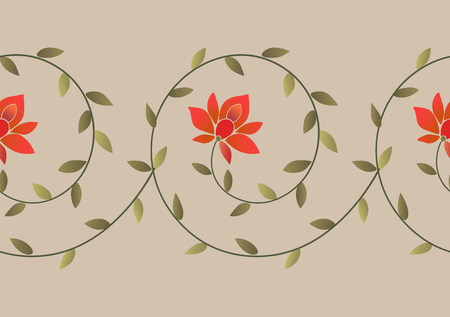 Embroidery ethnic floral border pattern. Embroidery trendy design element.