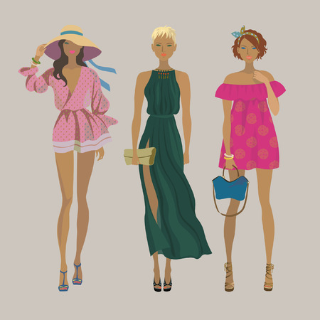 Three young stylish girls. Fashion models. Summer trendy outfits. Vector isolated illustration Иллюстрация