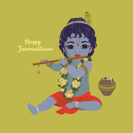 indium: Krishna janmashtami greeting card. Dahi handi festival vector illustration with little Krishna playing the flute.