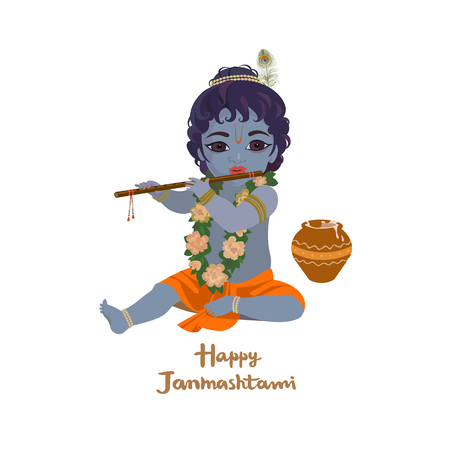 indium: Krishna janmashtami greeting card. Dahi handi festival vector illustration with little Krishna playing the flute isolated vector illustration Illustration