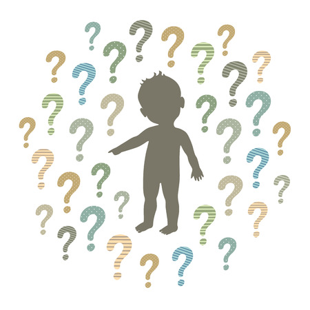 Vector silhouette of a curious child pointing at something with question marks around