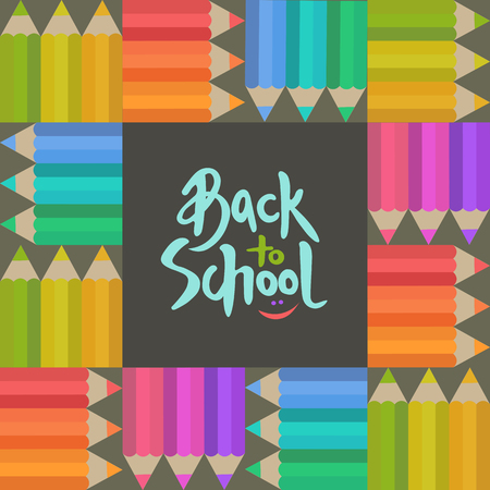 Back to school banner with colorful pensils and a hand written brush lettering vector illustration
