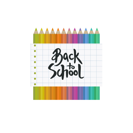 Back to school banner with pensils and a hand written brush lettering isolated vector illustration