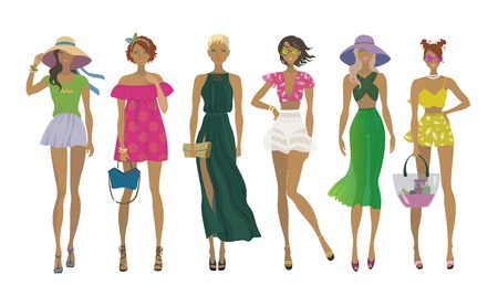 Set of young stylish girls. Fashion models. Summer trendy outfits. Vector isolated illustration