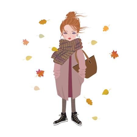 Leuk beeldverhaalmeisje dat aan muziek met hoofdtelefoons luistert. Trendy herfst outfit