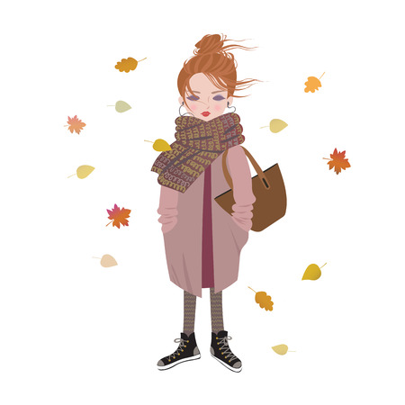 Cute cartoon girl listening to music with headphones. Trendy autumn outfit Illustration