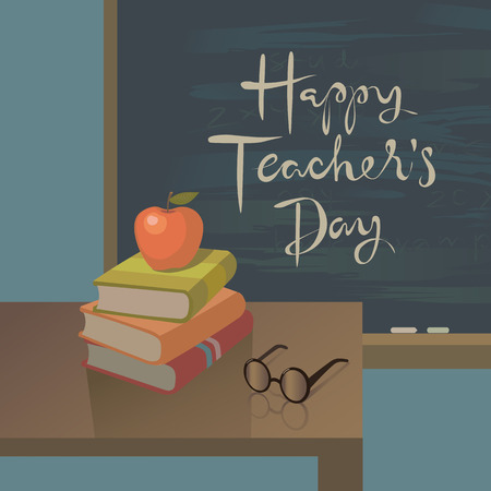 Teachers Day Greeting Card Vector Background With Symbols Of