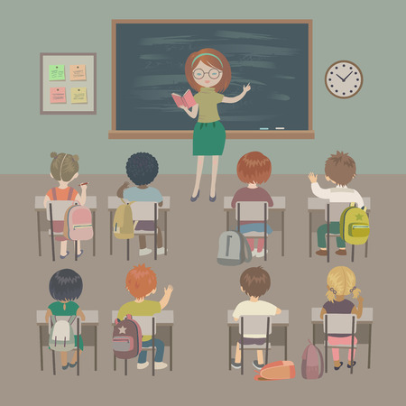 child sitting: Teachers day background. School lesson. Little students and a teacher in a classroom. Isolated vector illustration. Illustration
