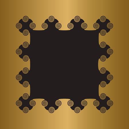 Engraved gold metal frame.