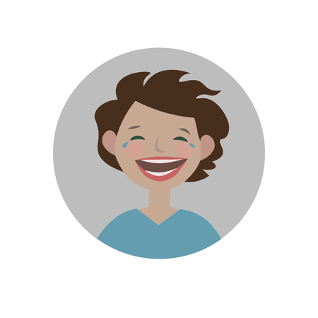 Laughing emoticon. Burst out laughing expression icon. Isolated vector illustration