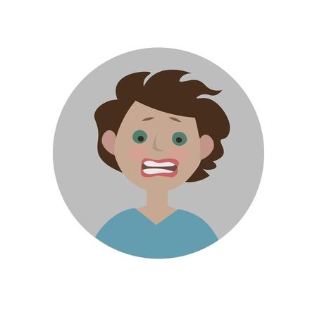 Frightened emoticon. Scared emoji. Afraid smiley. Horrified expression. Isolated vector illustration.
