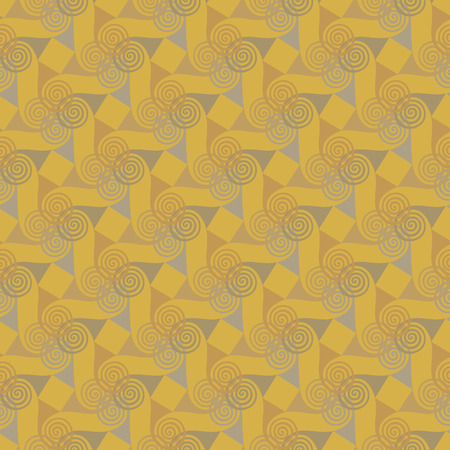 Colorful oriental seamless pattern with spiral elements on a yellow background. Abstract vector background Illustration