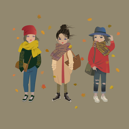 Fashion girls in trendy autumn outfits. Cute street style models isolated vector illustration.