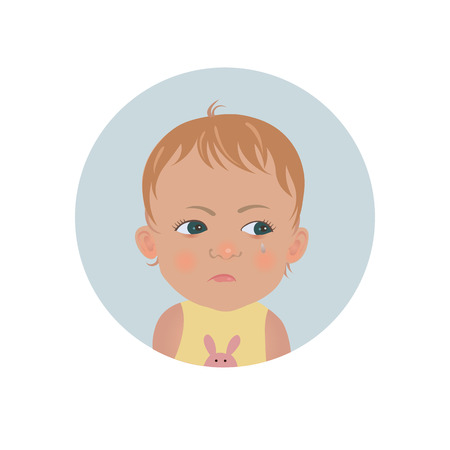 Resentful child emoticon. Cute offended baby emoji. Discontent toddler smiley expression. Isolated vector illustration Ilustração