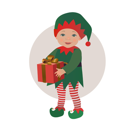 Cute baby wearing Christmas elf costume holding gift box vector isolated illustration Vettoriali