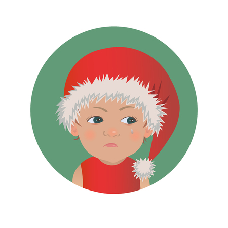 Cute resentful baby Santa Claus emoticon.  Christmas upset child emoji. Santa hat offended kid avatar isolated vector illustration Illustration