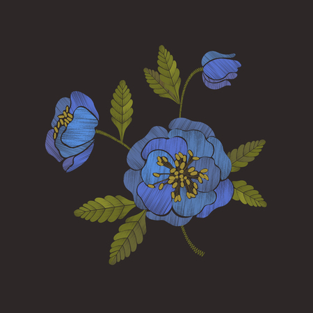 Embroidery floral pattern with blue anemone flowers. Embroidery trendy design element. Vector illustration.