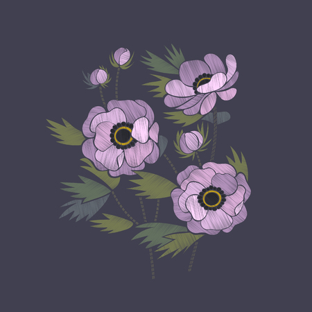 Embroidery floral pattern with lilac anemone flowers. Embroidery trendy design element. Stock Illustratie