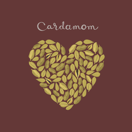 Cardamom pods in a heart shape on the maroon background vector isolated illustration.
