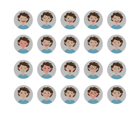 Avatars emotions. Set of human facial expressions. Cartoon style vector emoji icons in the circle. Illustration