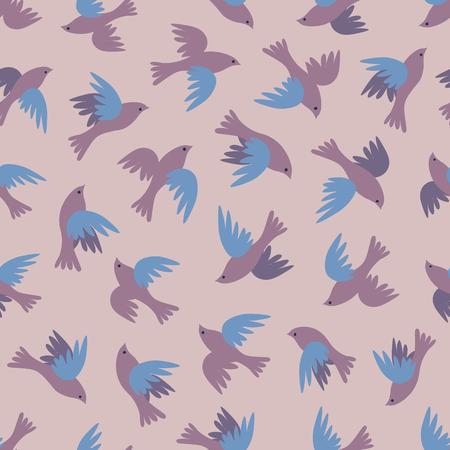Seamless pattern with flying birds.  Flock of birds simple vector background Ilustração