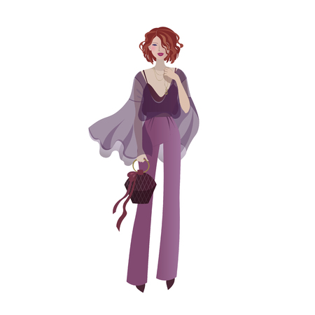 2018 fashion model in a trendy violet outfit. Fashionable girl in a transparent blouse and wide-leg pants holding a small handbag vector illustration.