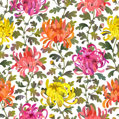 Seamless pattern with chrysanthemum flowers and leaves. Colorful floral background design. EPS10 vector illustration isolated on white.