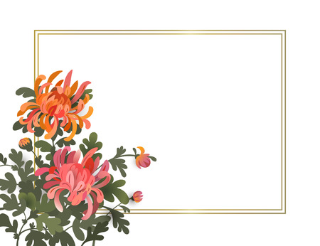 Asian style background with chrysanthemum flowers. Elegant floral frame design template with space for your text. Eps10 vector illustration.