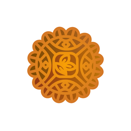 Mooncake icon design. Chinese Mid-Autumn Festival symbol with abstract traditional ornament. Moon cake vector illustration isolated on white.