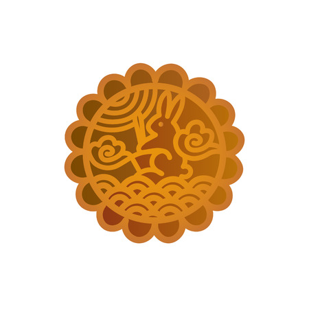 Mooncake icon design. Chinese Mid-Autumn Festival symbol with a lunar rabbit. Moon cake vector illustration isolated on white.