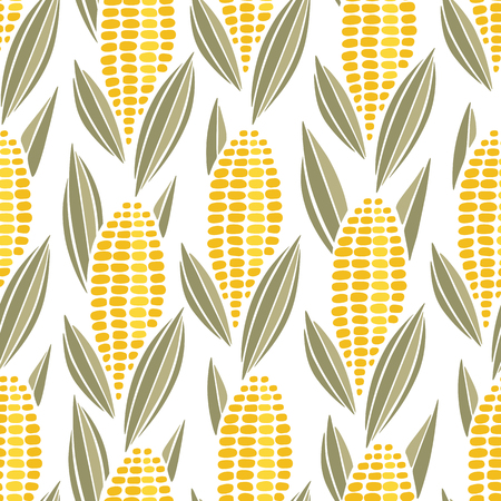 Corn cob maize seamless pattern. Vector background with ears of sweet corn isolated on white