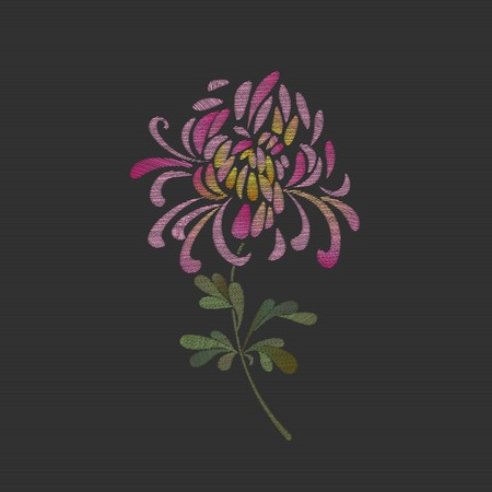Embroidered chrysanthemum flower design. Floral embroidery decorative vector illustration with a pink chrysanthemum flower on a black background.