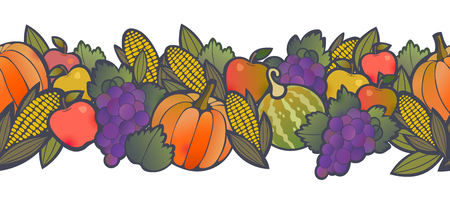 Autumn harvest seamless border with fruit and vegetables. Happy Thanksgiving seamless pattern design