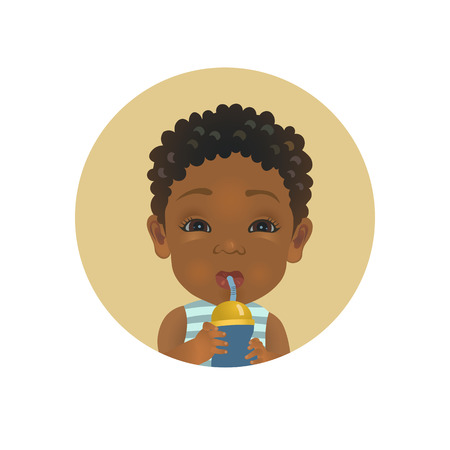 Cute Afro American baby with bottle of milk satisfied facial expression. Drinking African toddler emoticon. Happy eating dark-skinned child emoji avatar isolated vector illustration.