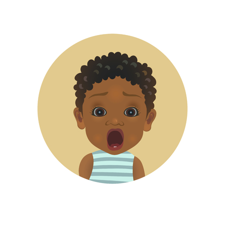Cute shocked Afro American baby emoticon. Scared African child emoji. Afraid toddler smiley. Frightened facial expression avatar isolated vector illustration Ilustração