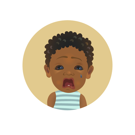 Cute Afro American crying baby emoticon. Tearful African child emoji. Weeping dark-skinned kid smiley. Painful facial expression avatar vector isolated illustration